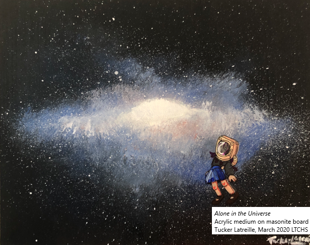 universe with lone person in foreground - art