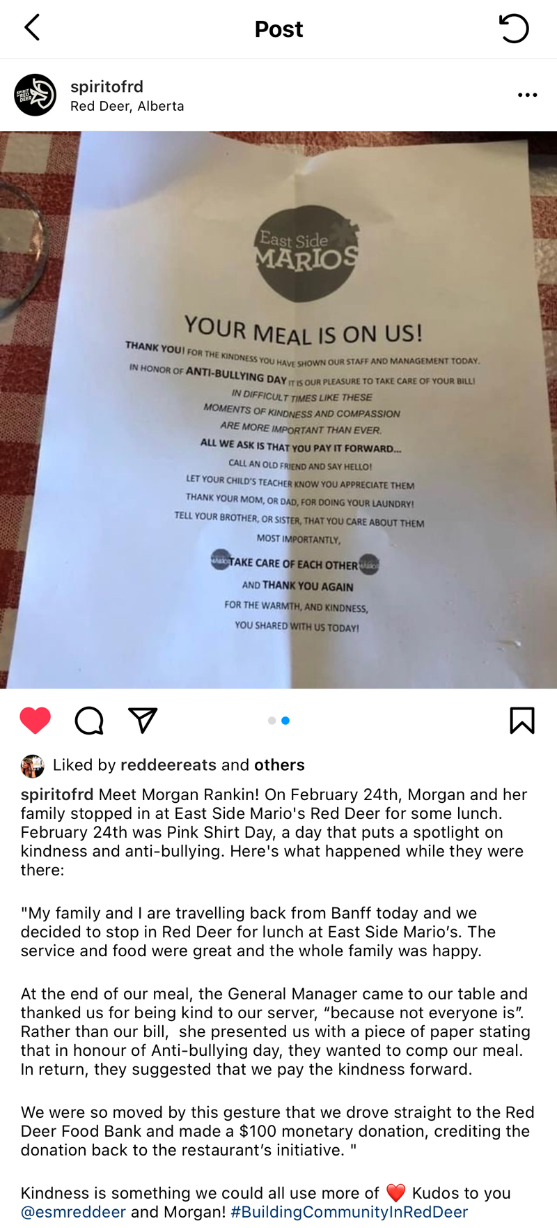 Local restaurant pays kindness forward - post
