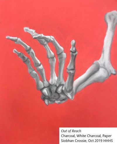 drawing of a skeleton hand/arm on stark red background