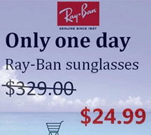 Ad showing extremely discounted price for brand name sunglasses