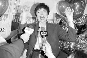 Gail Surkan celebrating her first Mayoral win